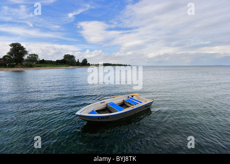 A rowing boat on the Baltic Sea - Stock Photo