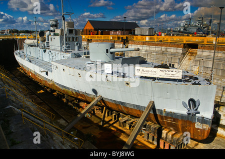 The Royal Navy's First World War M29 class monitor M33 is restored in Portsmouth, England, United Kingdom. - Stock Photo