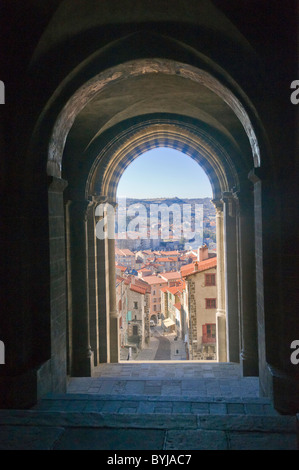 A view down  street 'des tables' from Le Puy en Velay  Cathedral doorway - Stock Photo