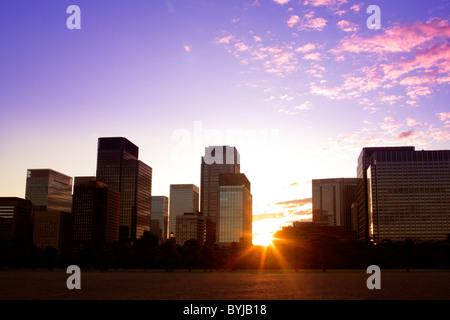 Marunouchi Sunrise Dramatic Sky Skyline Skyscraper - Stock Photo