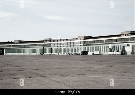 Historic buildings at new city public Tempelhofer Park on site of famous former Tempelhof Airport in Berlin Germany - Stock Photo
