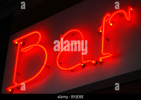 A red neon bar sign - Stock Photo
