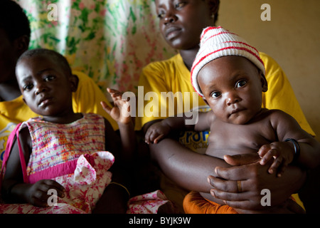 Women seek family planning advice at a reproductive health clinic in rural Masaka, Uganda, East Africa; - Stock Photo