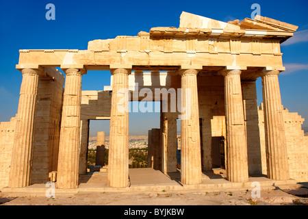 The Propylaea, The monumental gateway to the Acropolis, Athens, Greece - Stock Photo