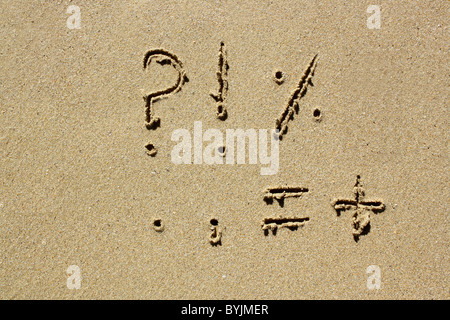 Punctuation marks written out in wet sand. Please see my collection for more similar photos. - Stock Photo