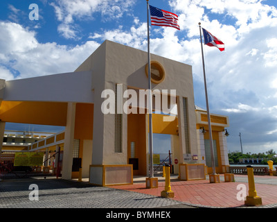 Low Angle View of a Cruise Port Building, San Juan Port, Puerto Rico - Stock Photo