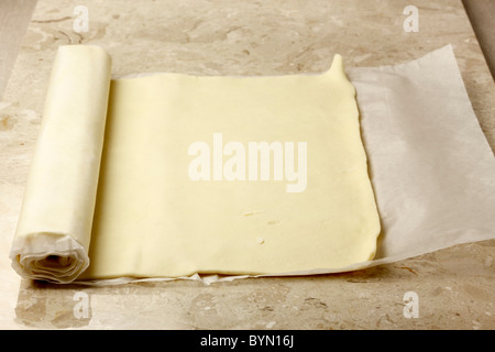 Ready rolled pastry - Stock Photo