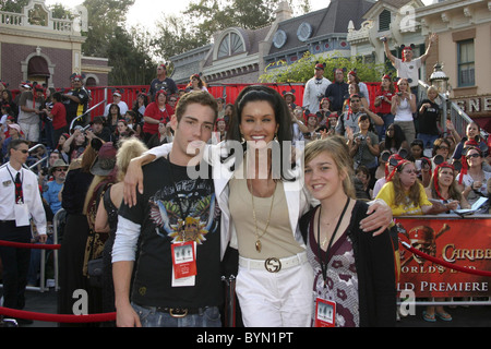 Janice Dickinson and her children World Premiere of Walt Disney Pictures 'Pirates Of The Caribbean: At World's End' - Stock Photo