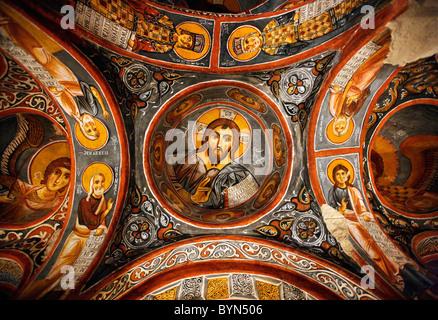 The fresco of Jesus Christ ('Pantokrator') in the rock cut Karanlik Kilise ('Dark Church'), Goreme, Nevsehir, Cappadocia, - Stock Photo