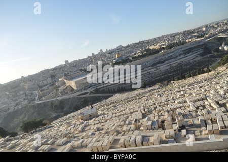 Jerusalem: Temple mount panoramic view from mount of olives - Stock Photo