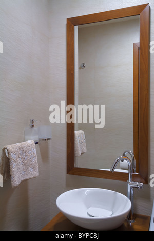 Modern bathroom interior, minimal design style, simple and attractive furniture. - Stock Photo