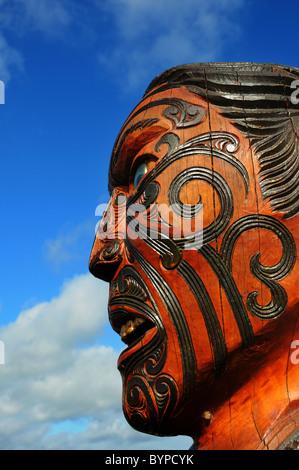 Maori sculptures in New Zealand - Stock Photo