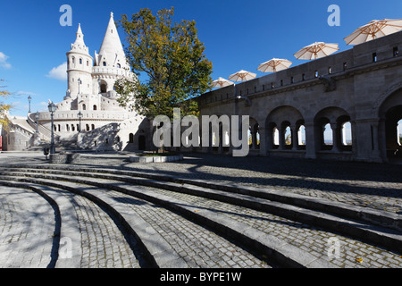 Low Angle View of a Wall and Castle Tower, Fisherman's Bastion, Budapest, Hungary - Stock Photo