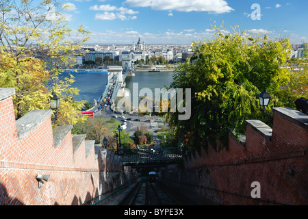 High Angle View of Budapest from the Castle Hill Funicular Railway - Stock Photo