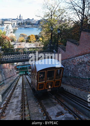 Budapest Castle Hill Funicular Car Ascending to Castle Hill, Hungary - Stock Photo