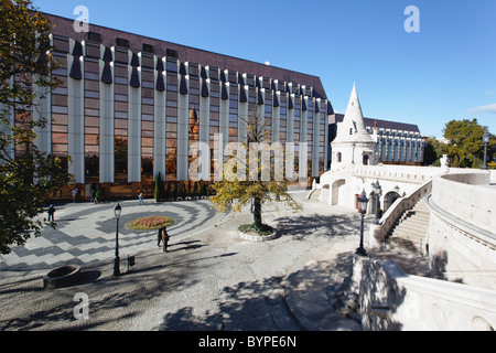 Hilton Hotel with the Fishermen's Bastion, Trinity Square, Budapest - Stock Photo
