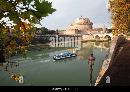 View of Castel San 'Angelo on the Tiber River, Rome, Italy - Stock Photo
