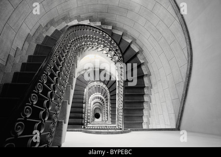 Staircase Perspective, Marriott Grand Flora Hotel, Rome, Italy - Stock Photo