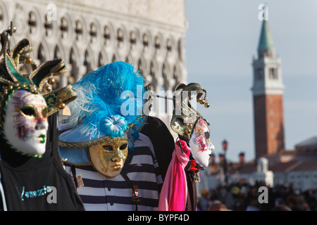 Close Up View of Venetian Masks for Sale, St Mark's Square, Venice, Italy - Stock Photo