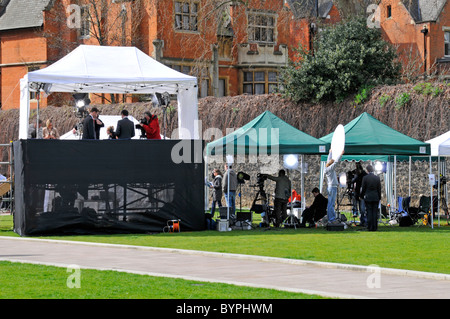 Broadcasting news crews and spectators on College Green at election time - Stock Photo