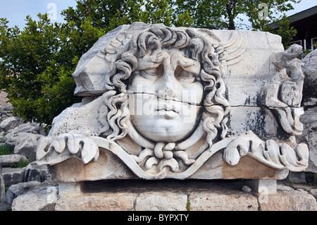 statue of Medusa at the Apollo temple in Didim Turkey - Stock Photo