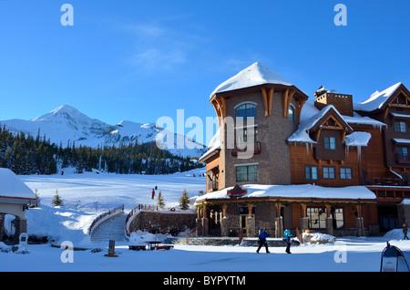 Shops and restaurants at the village. Big Sky Ski Resort, Montana, USA. - Stock Photo