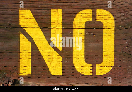 no sign stenciled on wood - Stock Photo
