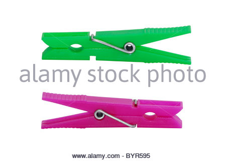 Two plastic clothes pin isolated over a white background - Stock Photo