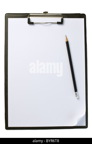 the clipboard with blank paper and pencil - Stock Photo