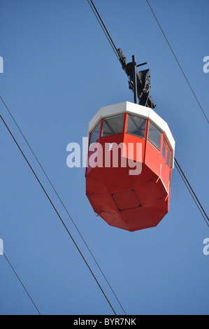 Barcelona`s 'famous' cable cars which take you right across the main port & dock area allowing panoramic views across - Stock Photo