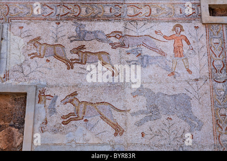 Mosaic at the Roman Theatre, Bosra, Syria - Stock Photo