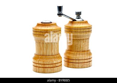 wooden salt and pepper shacker on white background - Stock Photo