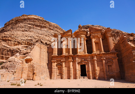 The Monastery, sculpted out of the rock, at Petra, Jordan - Stock Photo