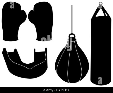Set of Boxing Silhouettes - Stock Photo