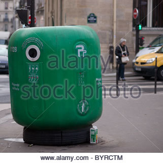 Europe, France, Paris, View Of Plastic Recycling Bin - Stock Photo