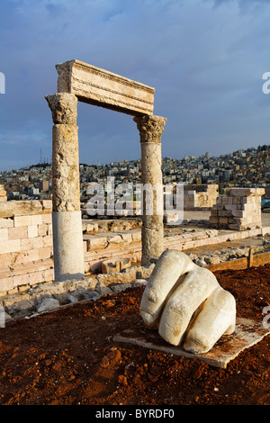 The Temple of Hercules and sculpture of a hand in the Citadel, Amman, Jordan - Stock Photo