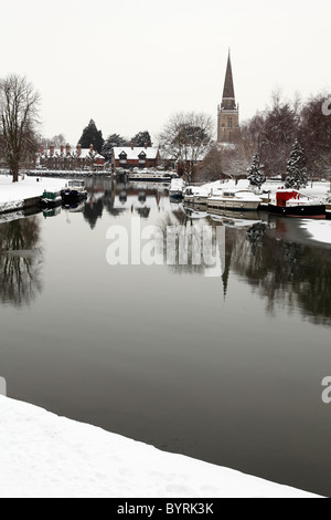 River Thames at Abingdon in winter, Oxfordshire, England, UK - Stock Photo