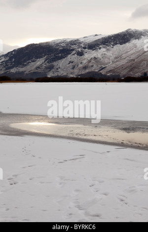 'Derwent Water' covered in winter snow, 'Lake District', Cumbria, England, UK - Stock Photo