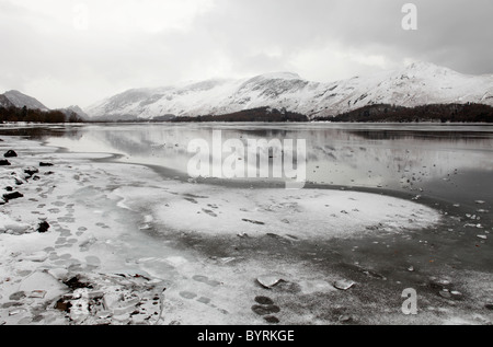 'Derwent Water' frozen in winter ice, 'Lake District', Cumbria, England, UK - Stock Photo