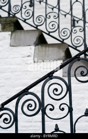 Stairs and railings outside Vaalsbroek Castle in Vaals, the Netherlands - Stock Photo