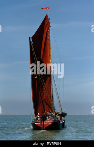Traditional Thames Sailing Barge 'Repertor' during 2010 Medway Barge Match Race - Stock Photo