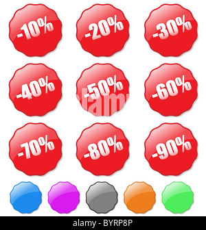 Collection of colored discount tags with percent numbers. Easy to edit, any text or color. - Stock Photo