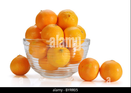 Jar full of oranges with white background - Stock Photo