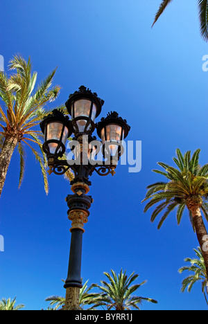 Old style street light among palm trees. - Stock Photo
