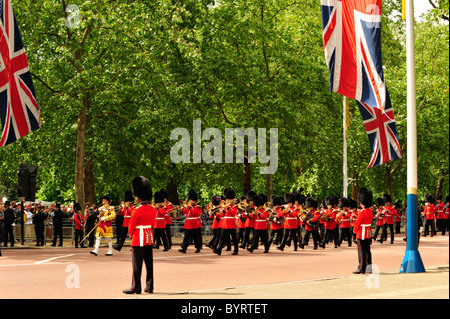 Guards marching along the Mall during Trooping the Colour - Stock Photo