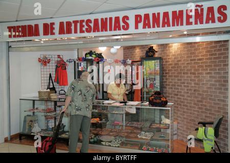 Panama City Panama Aeropuerto Tocumen airport PTY shopping terminal concession Panamanian handicrafts souvenirs - Stock Photo