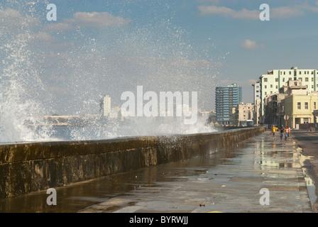 Waves breaking on the Malecon, La Habana, Cuba - Stock Photo