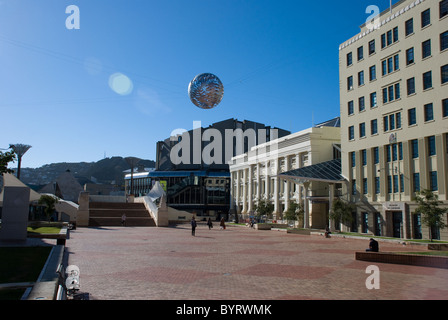 A view of the Wellington Civic Square, with the Michael Fowler Building, Wellington, New Zealand - Stock Photo