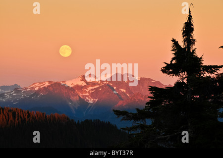 Full moon rising over North Cascades from Park Butte Trail, Mount Baker-Snoqualmie National Forest, Washington. - Stock Photo