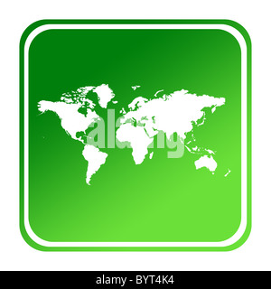 World or Earth map button in gradient green; isolated on white background with clipping path. - Stock Photo